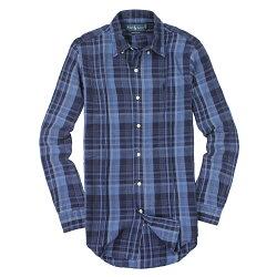 美國百分百【全新真品】Ralph Lauren 襯衫 RL 長袖 上衣 休閒 Polo 小馬 深藍 麻紗 格紋 男 XS E039