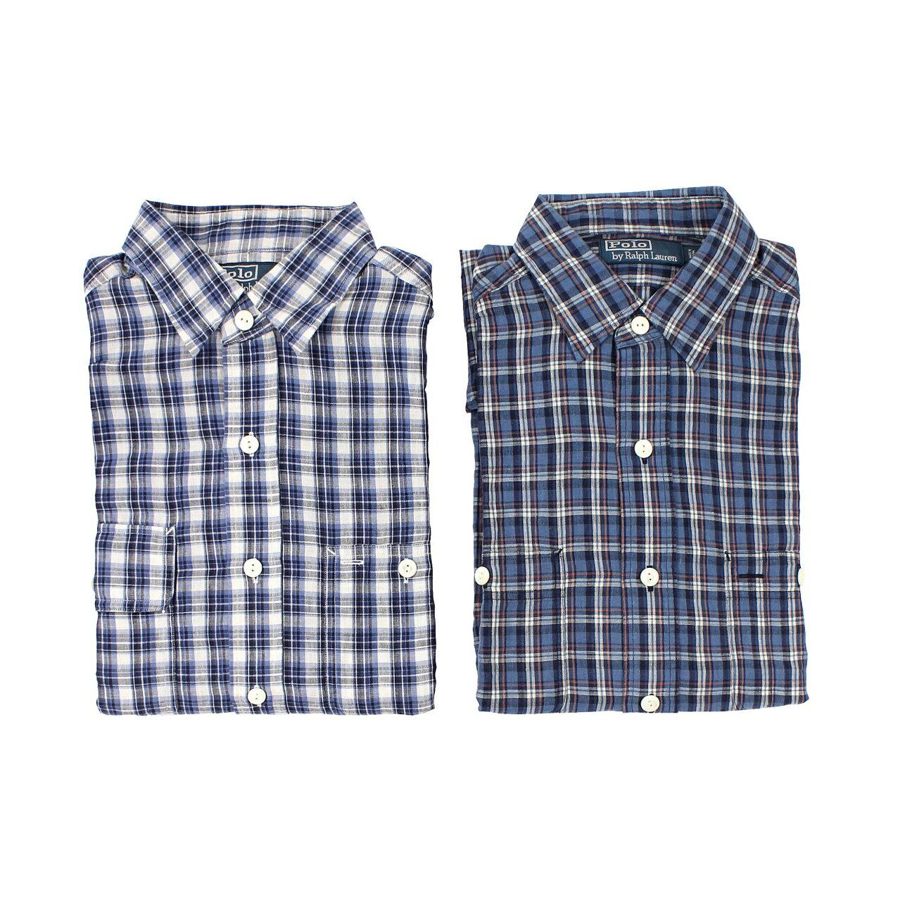 美國百分百【全新真品】Ralph Lauren 襯衫 RL 長袖 上衣 Polo 藍色 麻紗 雙口袋 格紋 男衣 S號 E040