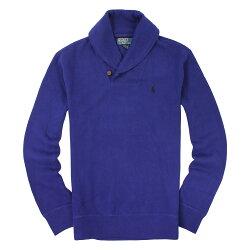 美國百分百【全新真品】Ralph Lauren 針織衫 RL 厚棉 上衣 Polo 小馬 寶藍 半拉 鈕扣 男衣 S M C013