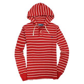 美國百分百【全新真品】Ralph Lauren 帽T RL 連帽T恤 外套 上衣 Polo 小馬 紅 條紋 特殊織法 男 S E061