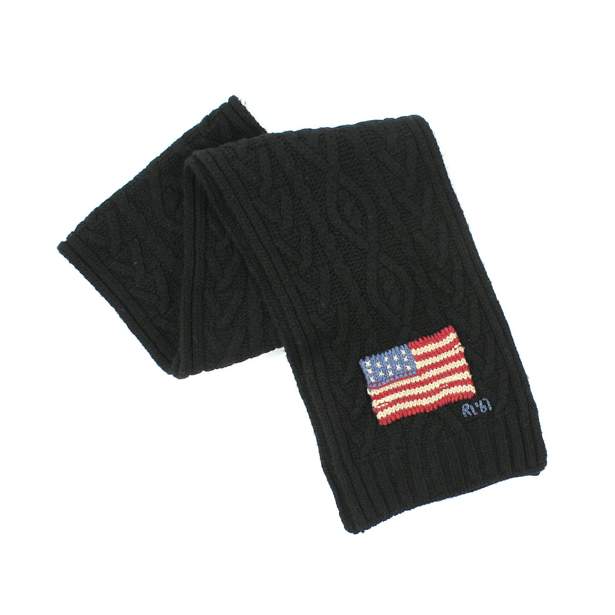 美國百分百【 】Ralph Lauren 圍巾 RL  羊毛 黑 美國 國旗 男 女 保暖 編織 花紋 麻花 E073