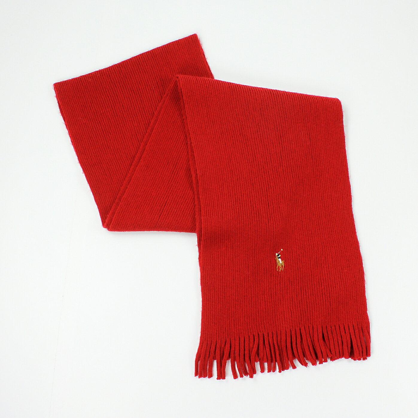 美國百分百【全新真品】Ralph Lauren 圍巾 RL 配件 紅 男 女 Polo 小彩馬 羊毛 柔軟 編織 E074