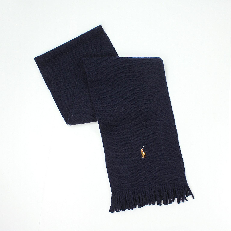 美國百分百【全新真品】Ralph Lauren 圍巾 RL 配件 深藍 男 女 Polo 小彩馬 羊毛 柔軟 編織 E074