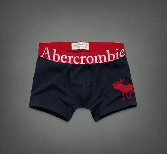 美國百分百【全新真品】Abercrombie & Fitch 內褲 AF 四角褲 褲子 深藍 Logo 彈性 麋鹿 男 XL號