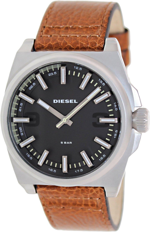 美國百分百【全新真品】Diesel 手錶 配件 腕表 專櫃 真皮 咖啡 盒子 日本機蕊 夜光 說明書 男
