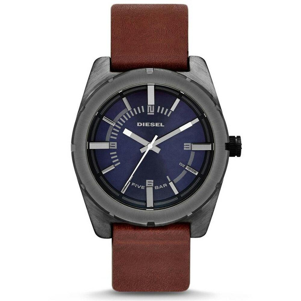 美國百分百【全新真品】Diesel 手錶 配件 腕表 專櫃 真皮 深咖 日本機蕊 夜光 說明書 男
