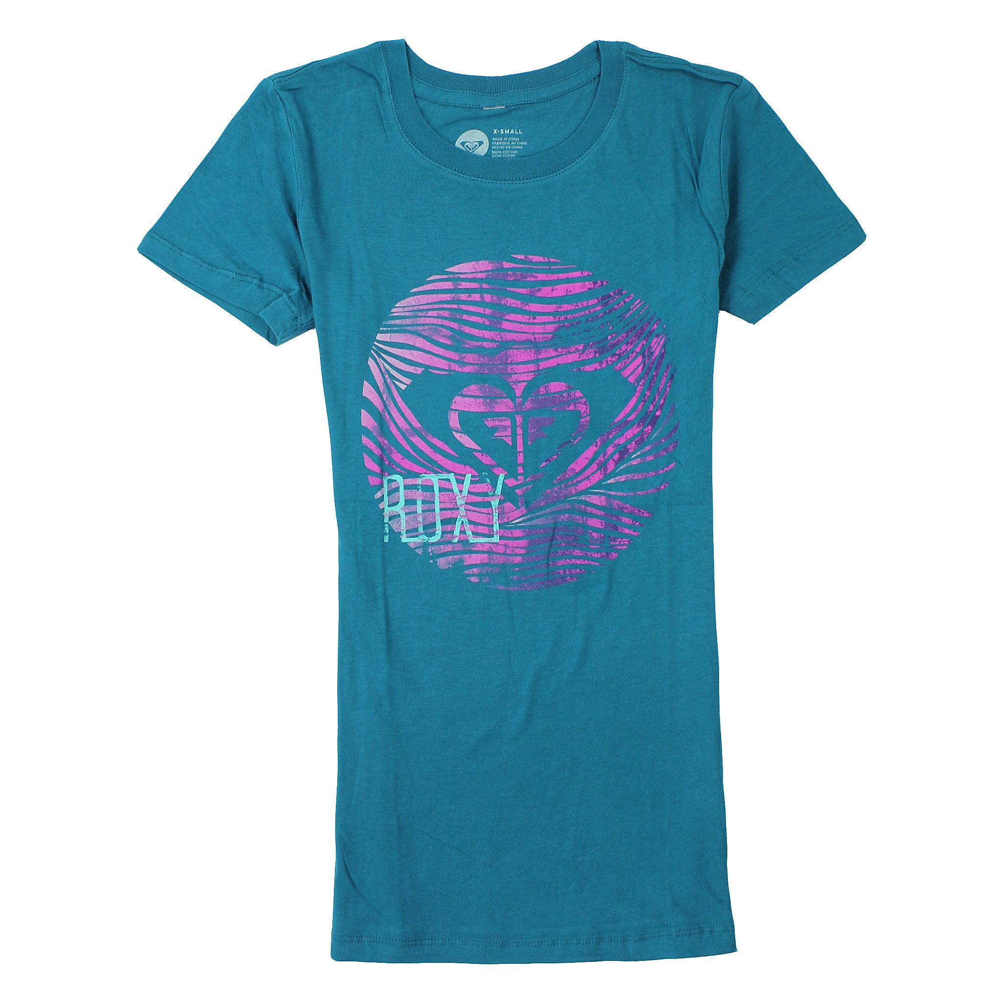 美國百分百【全新真品】Roxy T恤 短袖 上衣 T-shirt Logo 綠 春夏 窄版 Logo 純棉 修身 女 XS S M