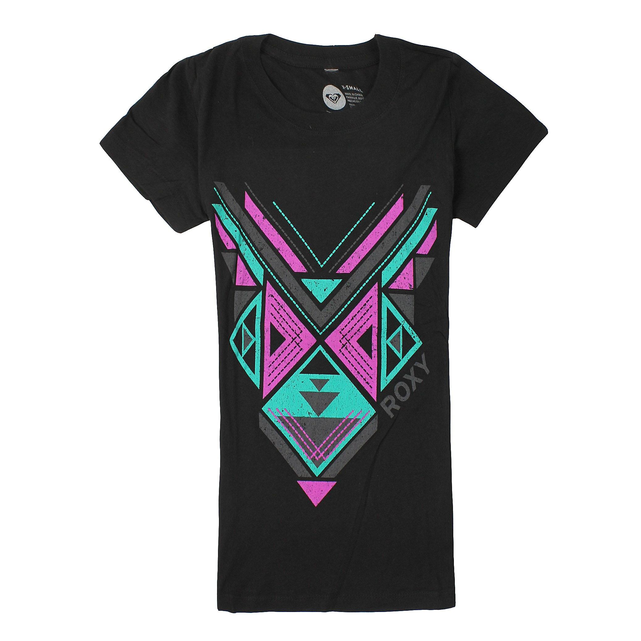 美國百分百【全新真品】Roxy T恤 短袖 上衣 T-shirt Logo 黑色 春夏 幾何 Logo 純棉 修身 女 XS S號