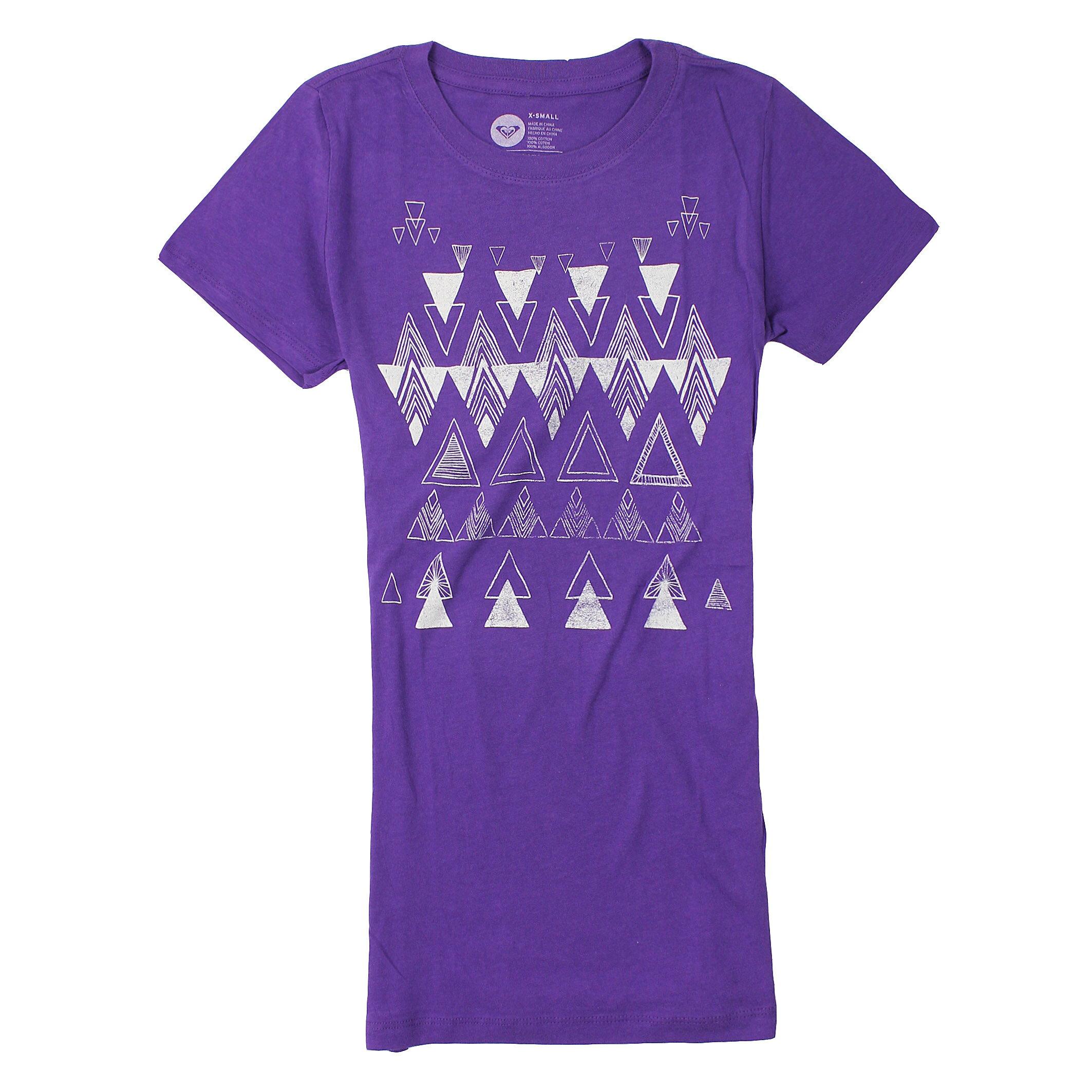美國百分百【全新真品】Roxy T恤 短袖 上衣 T-shirt Logo 紫色 春夏 幾何 Logo 純棉 修身 女 XS S