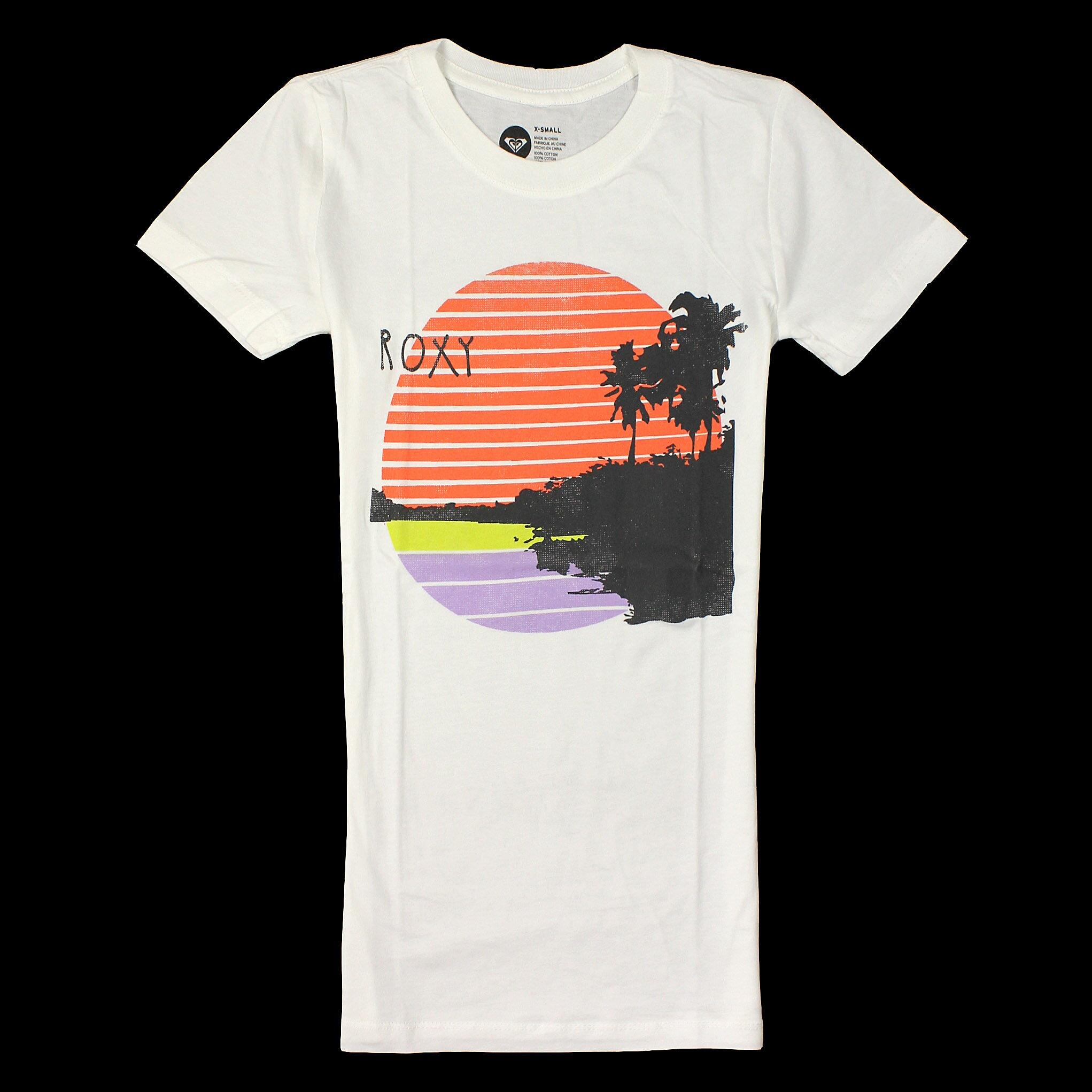 美國百分百【全新真品】Roxy T恤 短袖 上衣 T-shirt Logo 白色 春夏 夕陽 純棉 修身 女衣 XS S M號