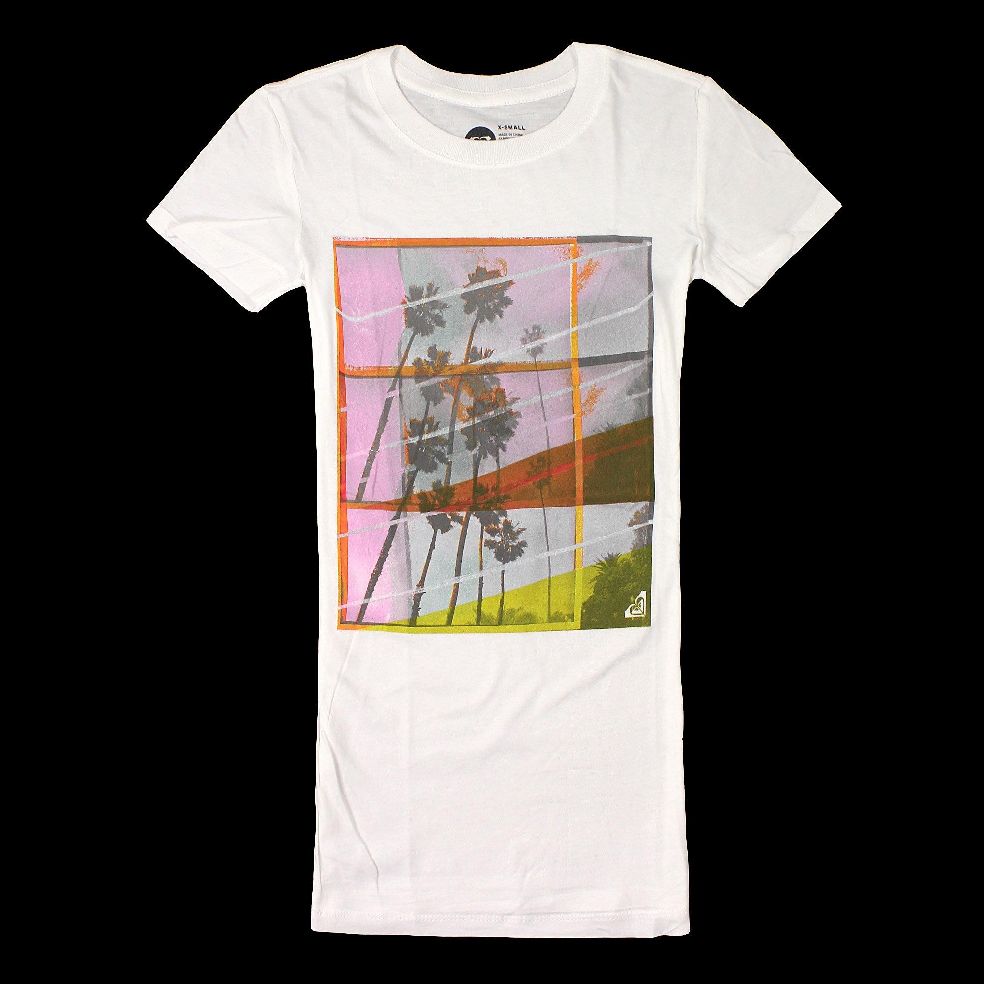 美國百分百【全新真品】Roxy T恤 短袖 上衣 T-shirt Logo 白色 春夏 椰子樹 純棉 修身 女 XS S M號