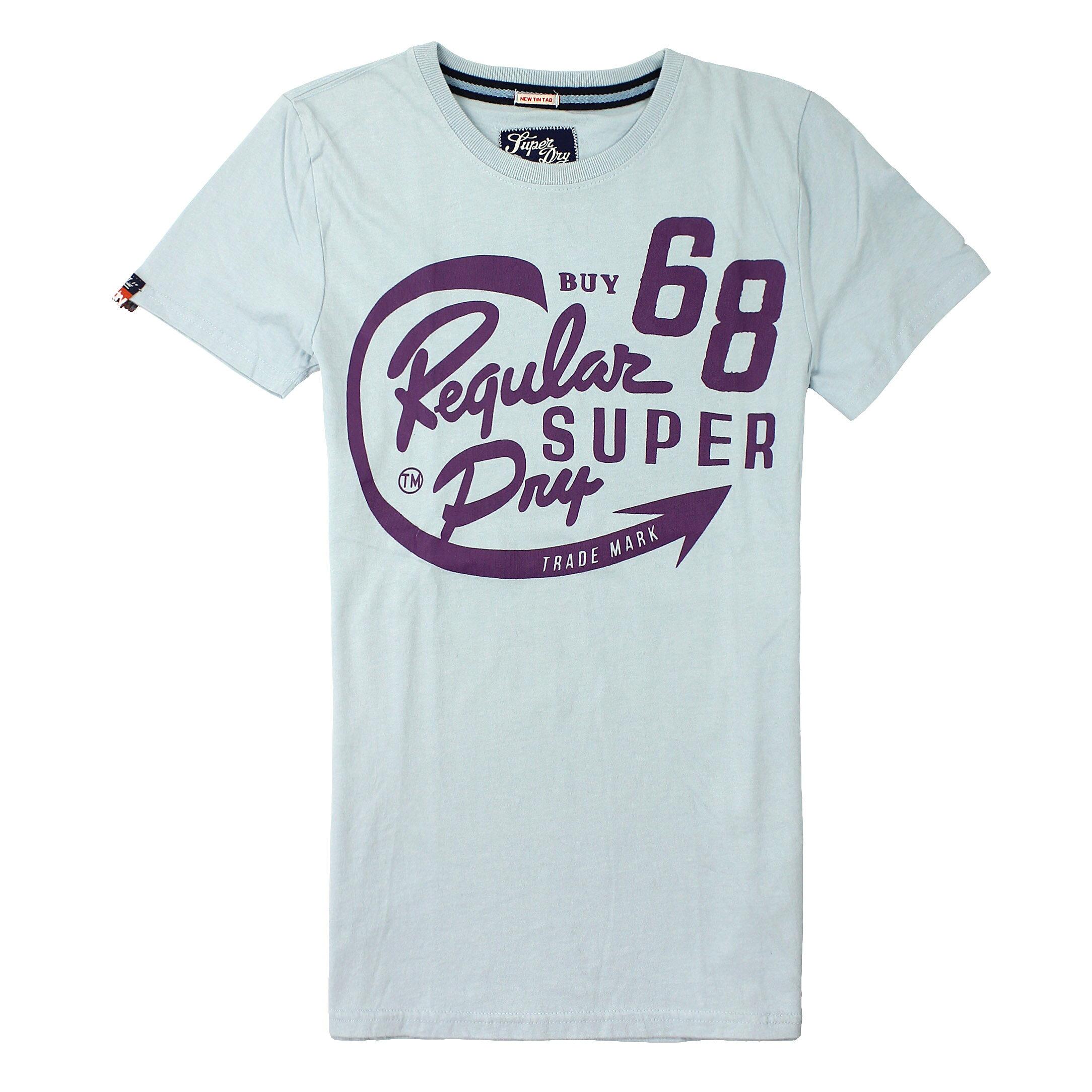 美國百分百【全新真品】Superdry T恤 短袖 上衣 T-shirt Logo 文字 藍灰 極度乾燥 純棉 男 S 2XL號
