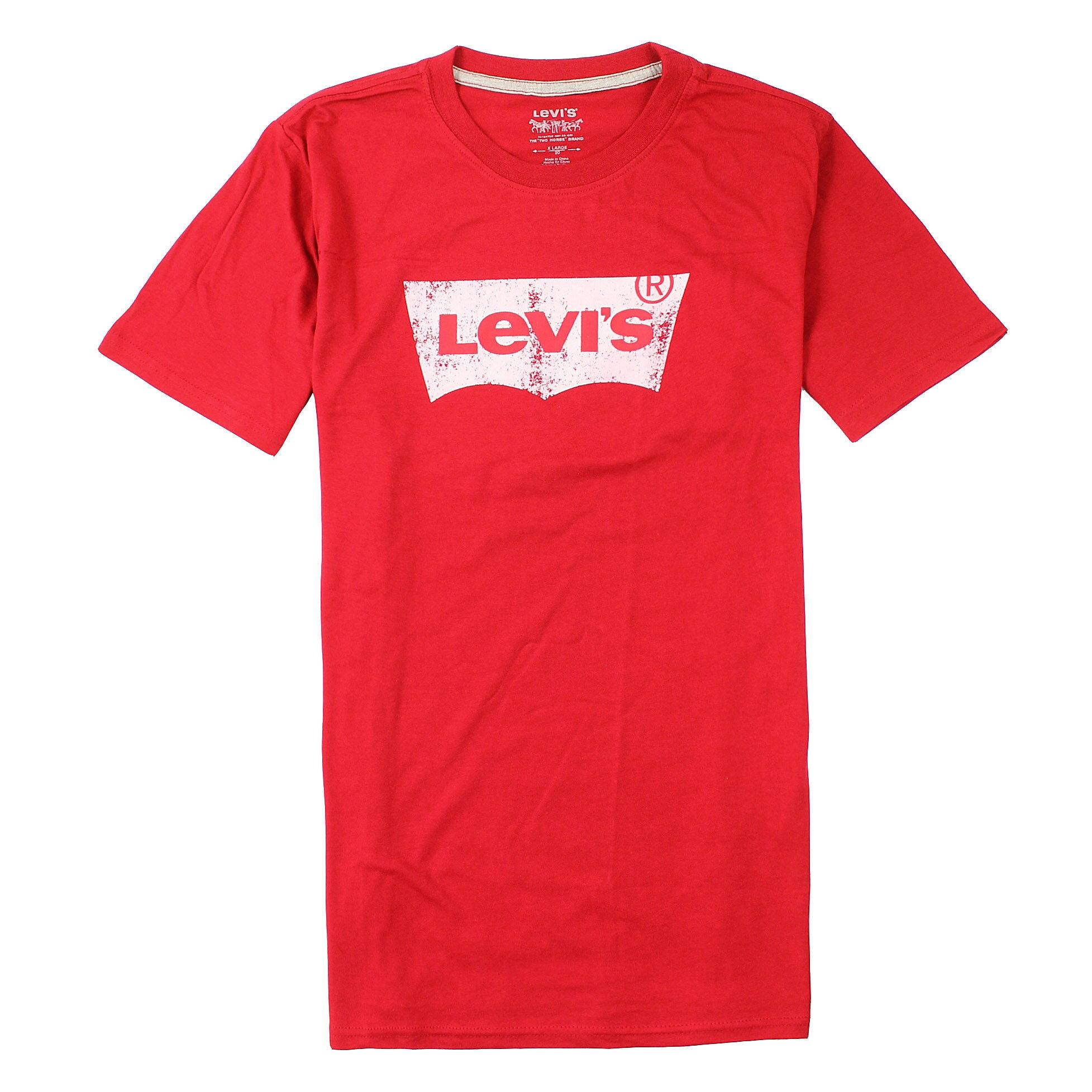 美國百分百【全新真品】Levis T恤 短袖 上衣 T-shirt 李維 Logo 經典 紅色 純棉 棉質 型男 男 S號