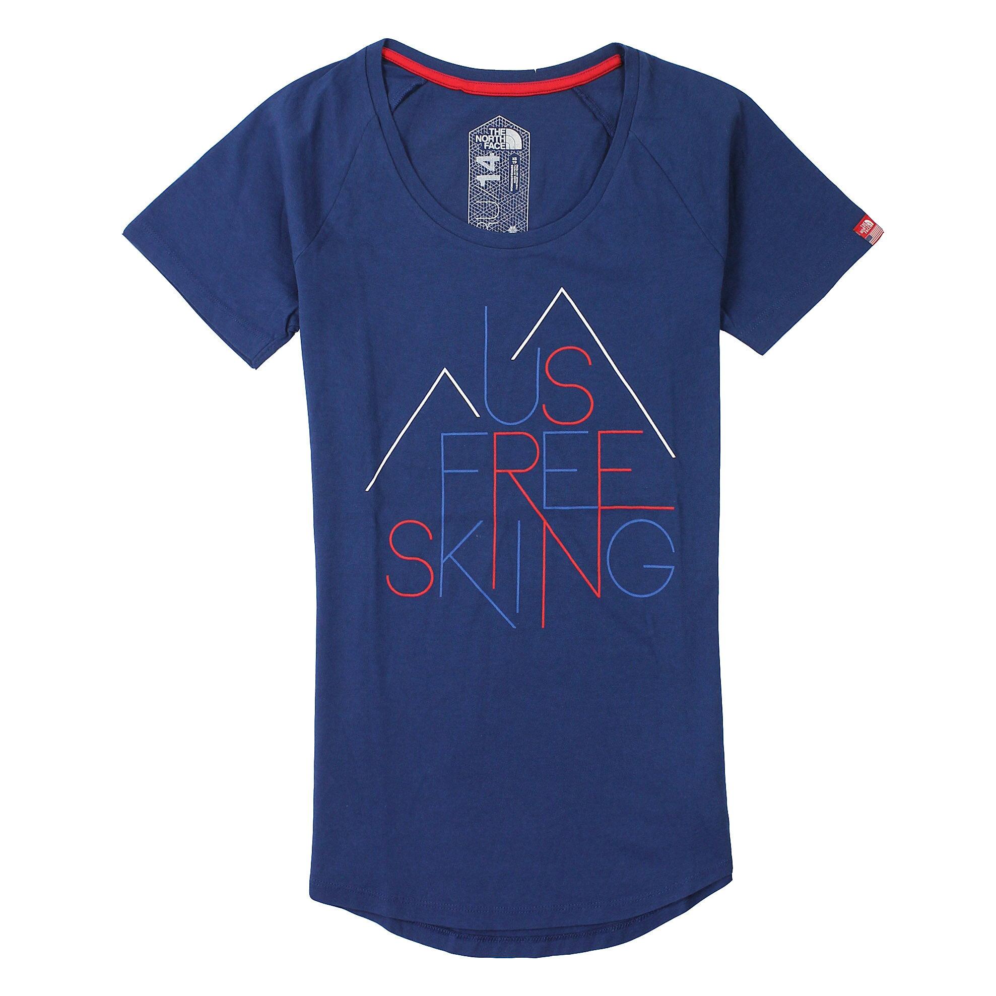 美國百分百【全新真品】The North Face T恤 短袖 上衣 T-shirt 北臉 深藍 線條 純棉 Logo 女 XS S M號