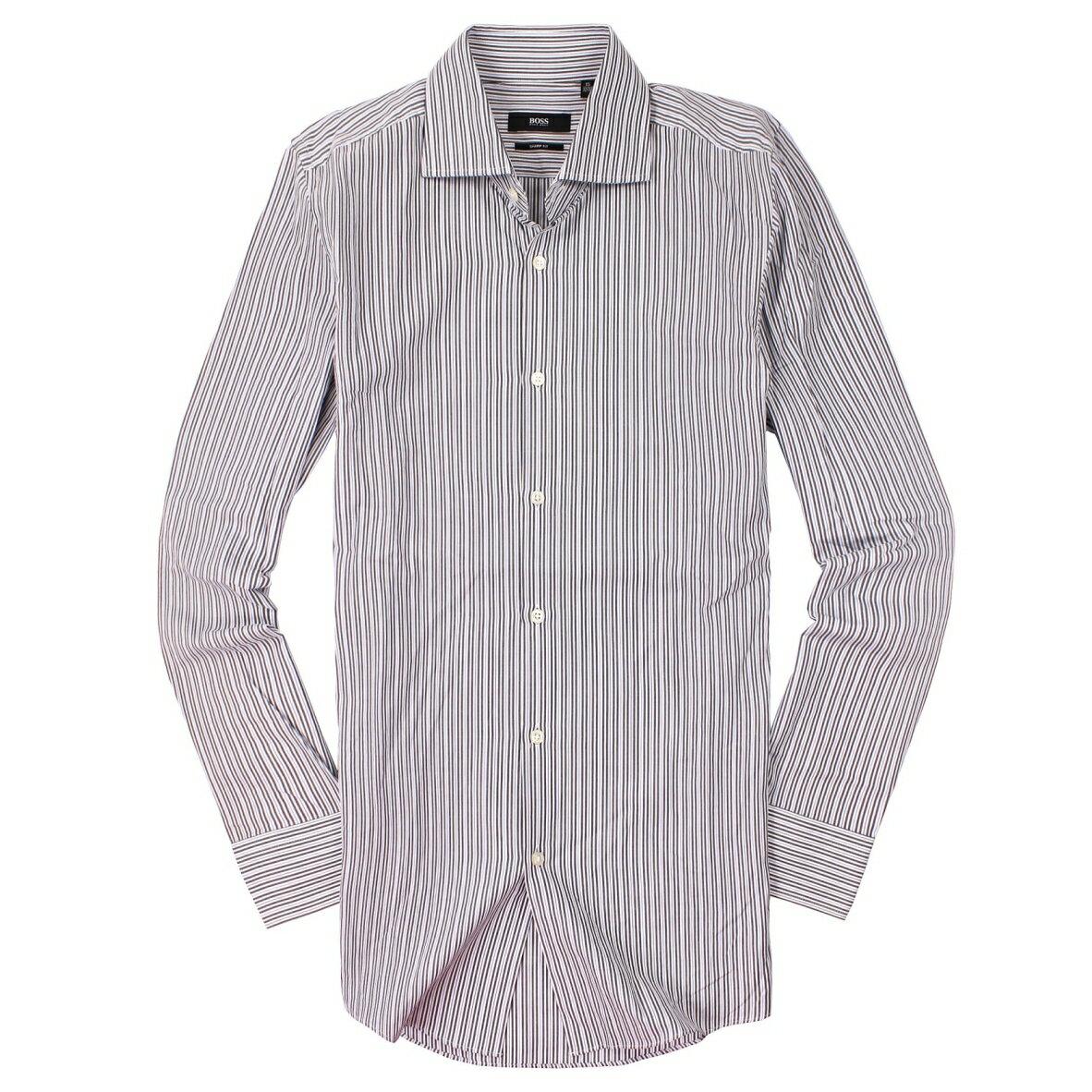 美國百分百【全新真品】Hugo Boss 襯衫 長袖 上衣 上班 休閒 條紋 專櫃 名牌 灰 男衣 15號 M號 C670