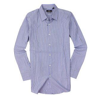 美國百分百【全新真品】Hugo Boss 襯衫 長袖 上衣 上班 休閒 條紋 專櫃 名牌 藍 男衣 15號半 M號 C668