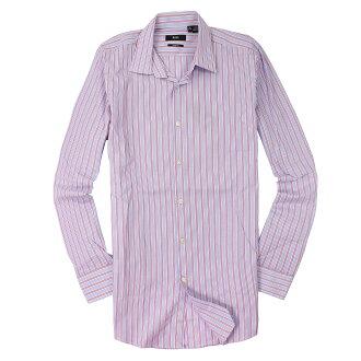 美國百分百【全新真品】Hugo Boss 襯衫 長袖 上衣 上班 休閒 條紋 專櫃 名牌 粉紅 藍 男 15號 M號 C669