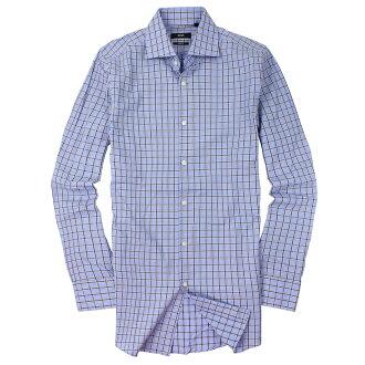 美國百分百【全新真品】Hugo Boss 襯衫 長袖 上衣 上班 休閒 條紋 專櫃 名牌 藍灰 男 15號 M號 C672
