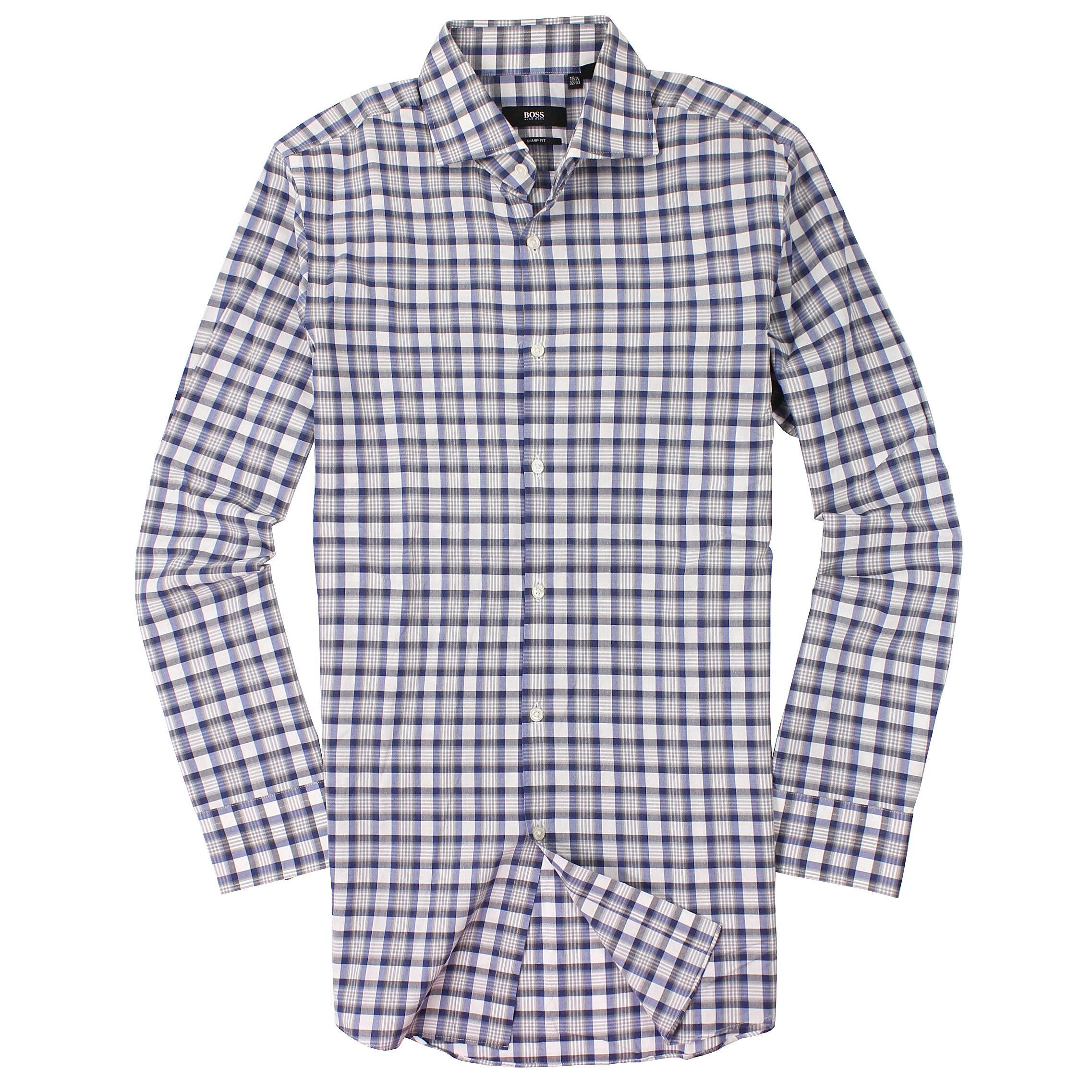 美國百分百【全新真品】Hugo Boss 襯衫 長袖 上衣 上班 休閒 條紋 專櫃 名牌 深藍灰 男 15號半 M號 C671