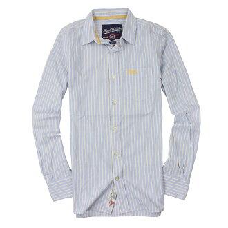 美國百分百【全新真品】Superdry 襯衫 長袖 上衣 條紋 口袋 藍 極度乾燥 純棉 男 S號