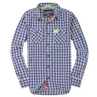 極度乾燥商品推薦到美國百分百【全新真品】Superdry 襯衫 長袖 上衣 格紋 口袋 藍 極度乾燥 純棉 男 L XL XXL號就在美國百分百推薦極度乾燥商品
