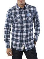 極度乾燥商品推薦到美國百分百【全新真品】Superdry 襯衫 長袖 上衣 格紋 口袋 深藍 極度乾燥 純棉 男衣 S號就在美國百分百推薦極度乾燥商品