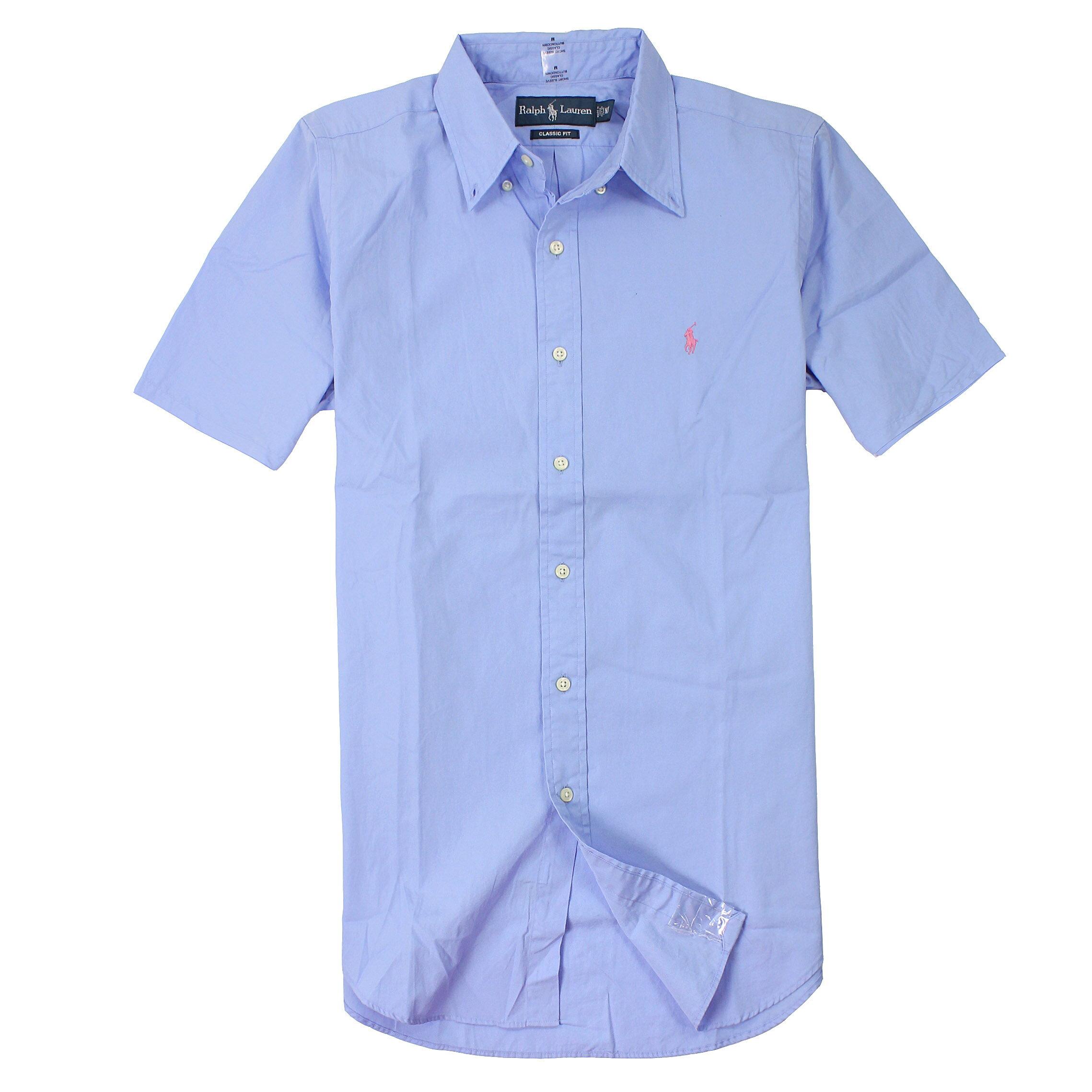 美國百分百【全新真品】Ralph Lauren 襯衫 RL 短袖 Polo 小馬 天藍 素面 Logo 口袋 純棉 男 M XL XXL