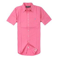 美國百分百【全新真品】Ralph Lauren 襯衫 RL 短袖 Polo 小馬 桃紅 素面 Logo 口袋 薄牛津 男 S XL