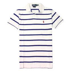 美國百分百【全新真品】Ralph Lauren Polo衫 RL 上衣 短袖 Polo 小馬 藍 白 條紋 網眼 男 XS S L E088