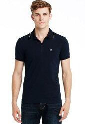 美國百分百【全新真品】Armani Exchange Polo衫 AX 短袖 上衣 深藍 亞曼尼 棉質 Logo 男 S L號 C278