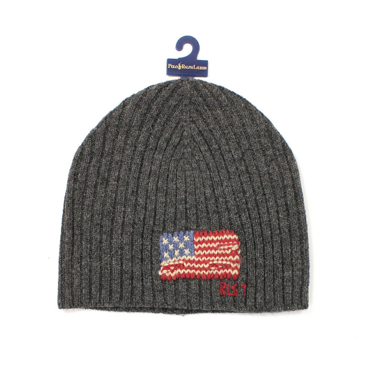美國百分百【全新真品】Ralph Lauren 帽子 RL 毛線帽 毛帽 針織 Polo 國旗 羊毛 男 女 灰 E081