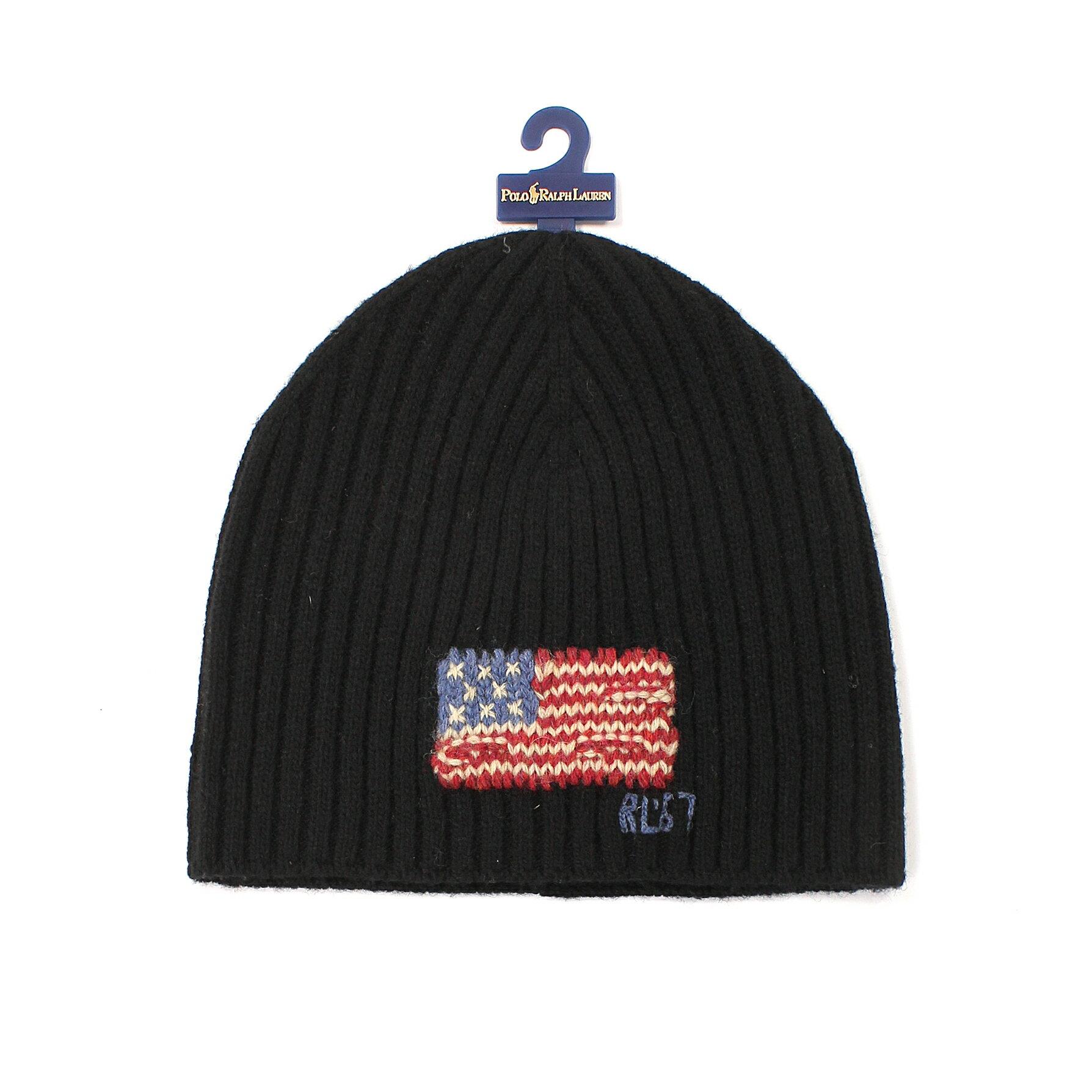 美國百分百【全新真品】Ralph Lauren 帽子 RL 毛線帽 毛帽 針織 Polo 國旗 羊毛 男 女 黑 E081