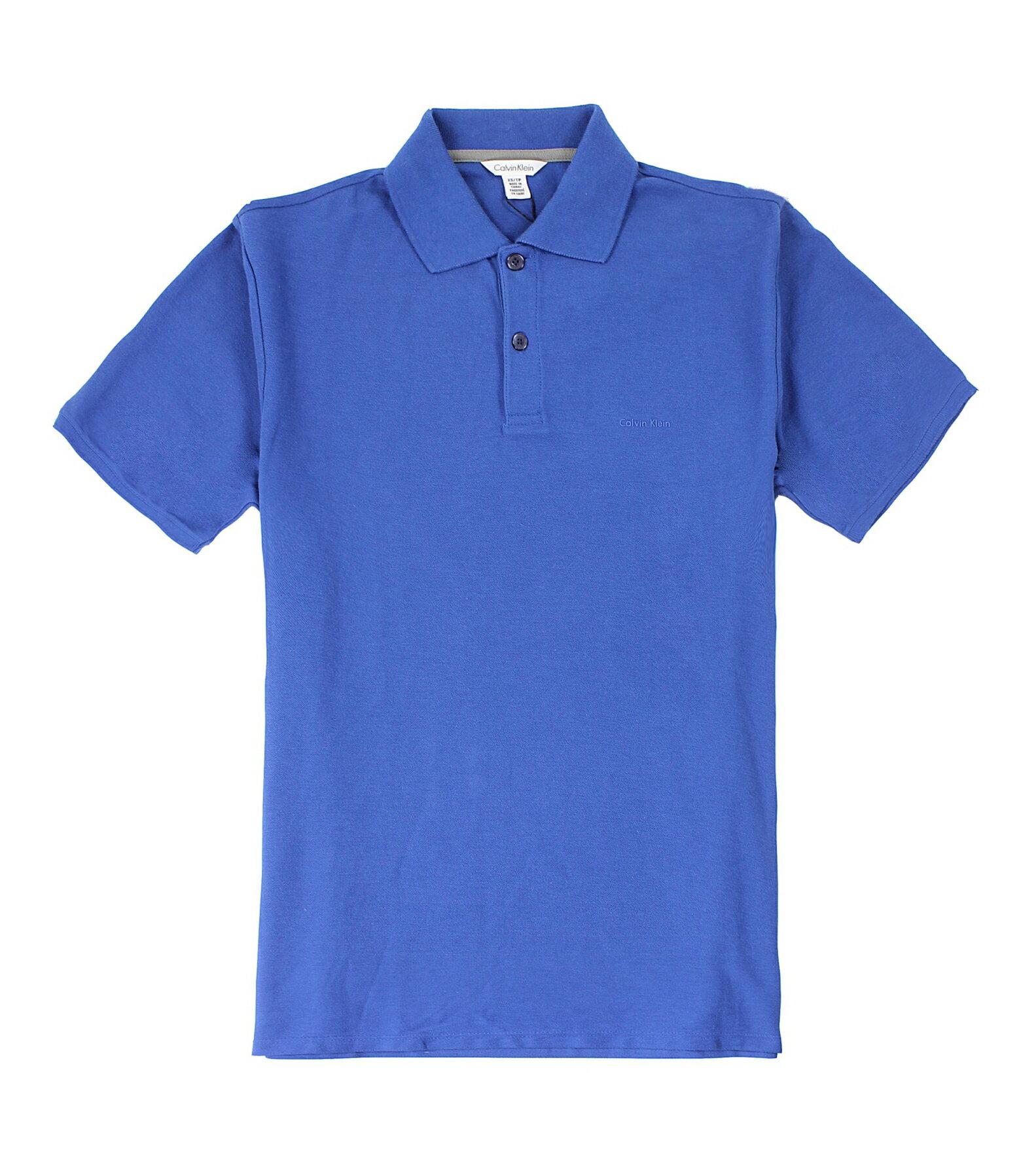 美國百分百【全新真品】Calvin Klein CK 短袖 POLO衫 寶藍 立體 Logo 網眼 男衣 XS號 E095