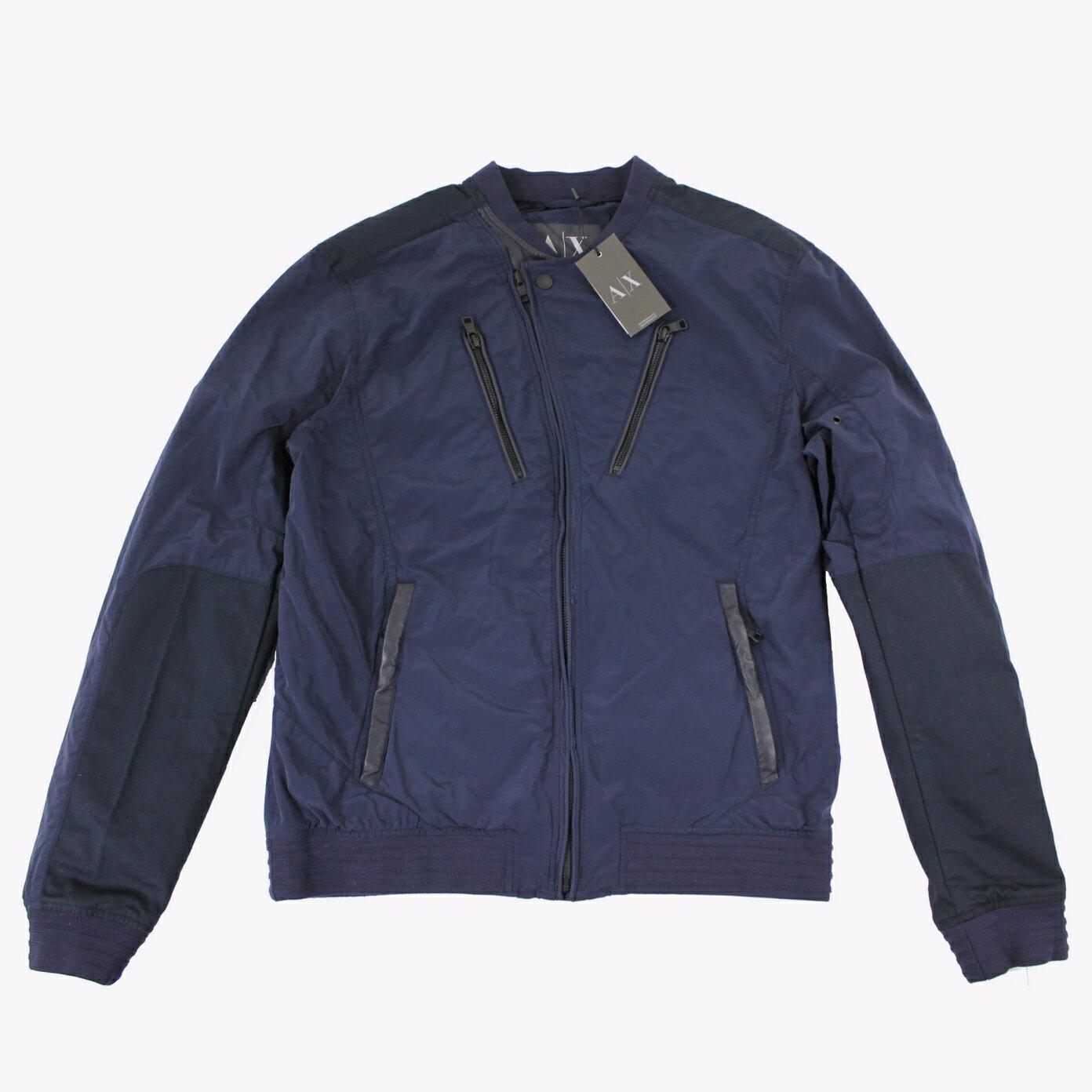 美國百分百【全新真品】Armani Exchange 外套 AX 夾克 亞曼尼 騎士 風衣 深藍色 男 M號 E106