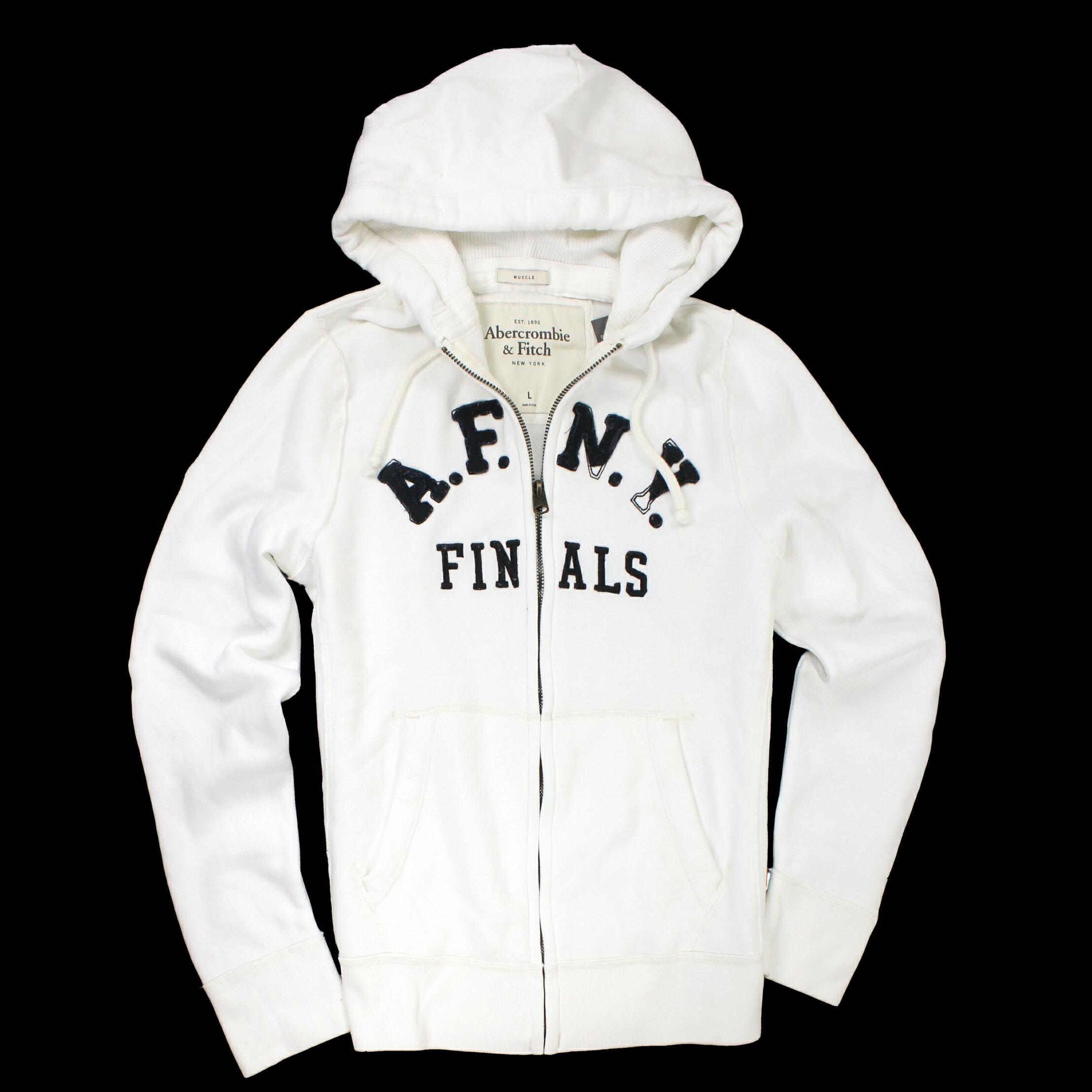 美國百分百【全新真品】Abercrombie & Fitch 外套 AF 連帽外套 麋鹿 長袖 白色 男 L號 E112