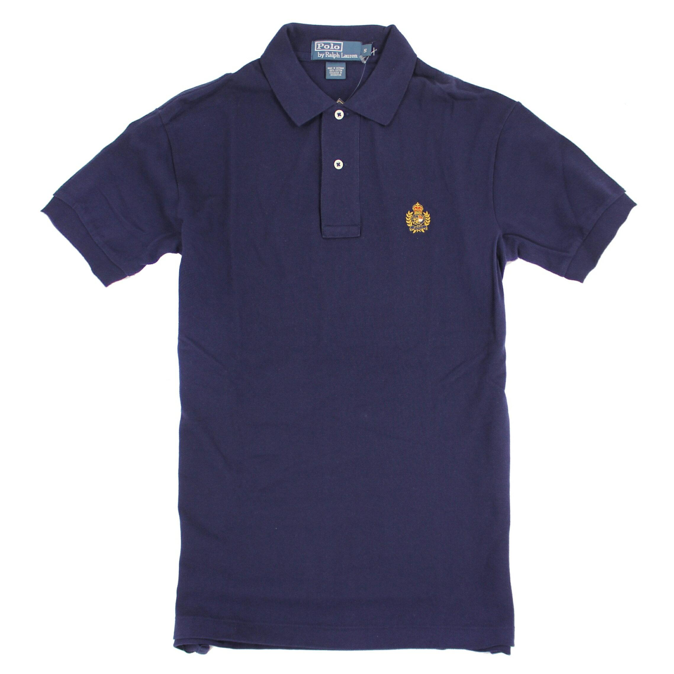 美國百分百【全新真品】Ralph Lauren Polo衫 RL 短 polo 休閒 素面 男 深藍 S號 E136