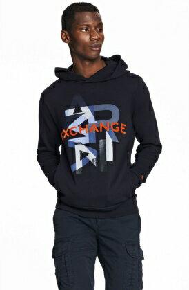 美國百分百【全新真品】Armani Exchange 帽T AX 連帽T恤 長袖 亞曼尼 黑色 男 M號 E155