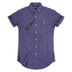美國百分百【全新真品】Ralph Lauren Polo 牛津 RL 短袖 襯衫 深藍紫 素面 上衣 XXS號 E138