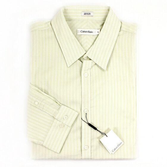 美國百分百【全新真品】Calvin Klein 襯衫 CK 長袖 上衣 休閒衫 薄 純棉 條紋 淺綠色 男 XL號