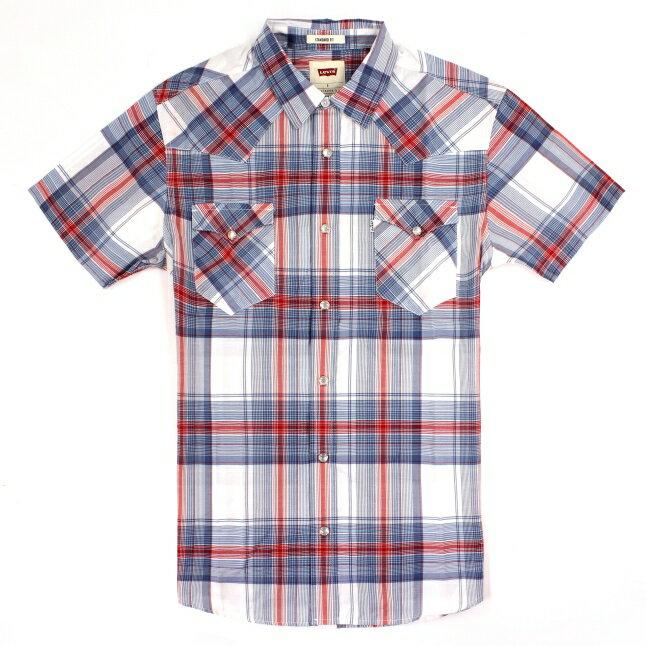 美國百分百【全新真品】Levis 襯衫 短袖 上衣 襯衫 雙口袋 薄 春夏 格紋 白藍紅 男 S號 E169