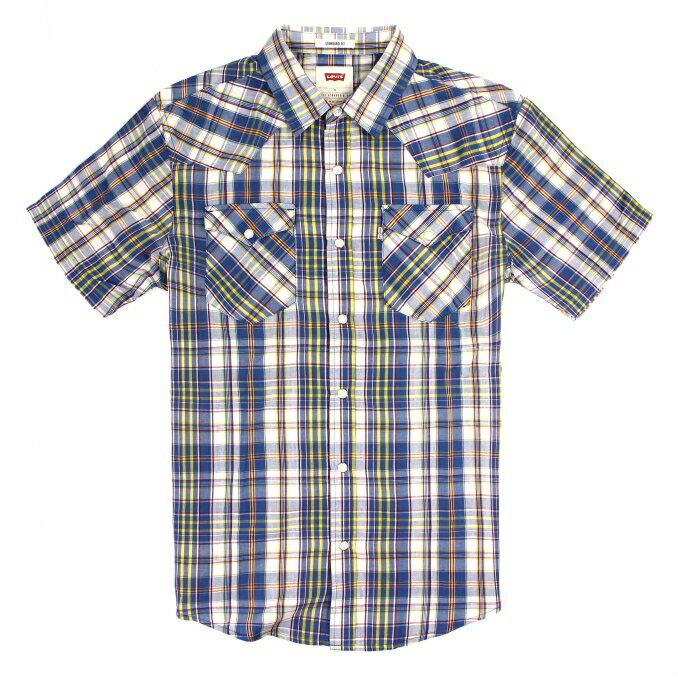 美國百分百【全新真品】Levis 襯衫 短袖 上衣 襯衫 雙口袋 薄 春夏 格紋 青藍 男 S號 E154
