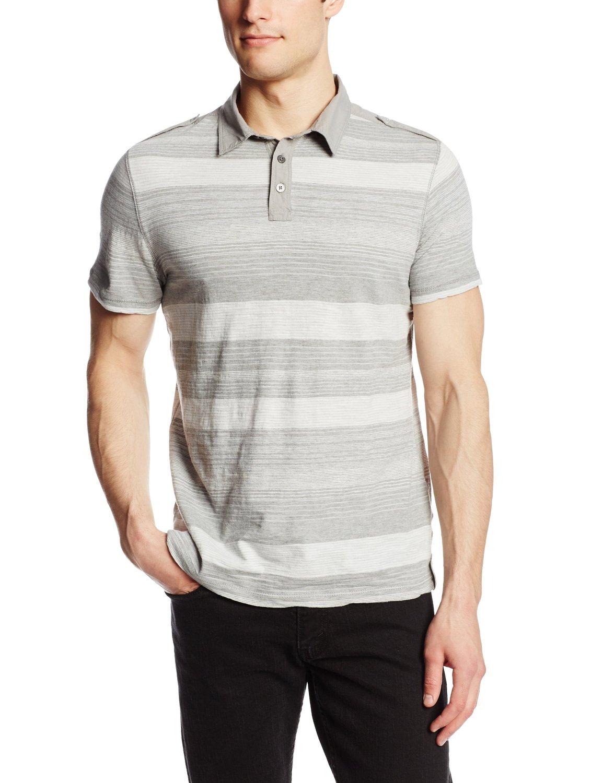 美國百分百【全新真品】Calvin Klein POLO衫 男衣 CK 純棉 短袖 上衣 條紋 灰色 S號 E158