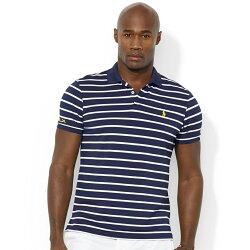 美國百分百【全新真品】Ralph Lauren POLO衫 RL RLX 條紋 短袖 網眼 上衣 S 白 深藍 E165
