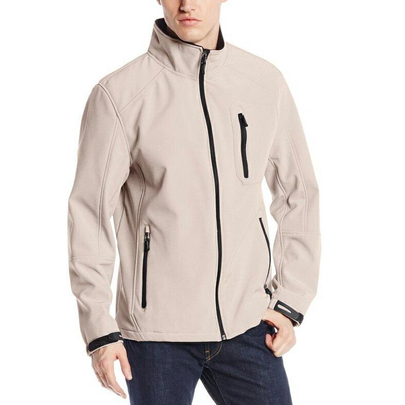 美國百分百【Calvin Klein】外套 CK 夾克 防風 防潑水 透氣 保暖 立領 軟殼 淺卡其 M號 E174