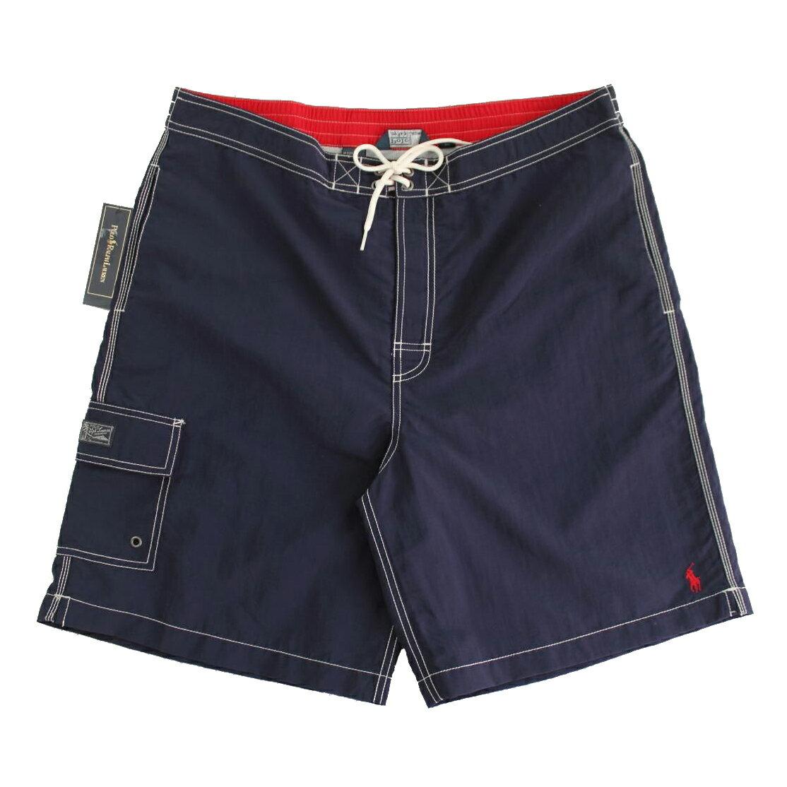 美國百分百【全新真品】Ralph Lauren RL 口袋 男 泳褲 海灘 衝浪褲 雙層 短褲 深藍 M號 A966