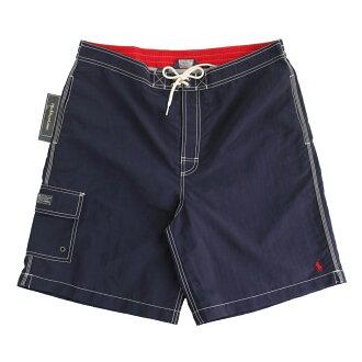 美國百分百【全新真品】Ralph Lauren RL 口袋 男 泳褲 海灘 衝浪褲 雙層 短褲 深藍 M號 E178