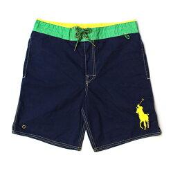 美國百分百【全新真品】Ralph Lauren RL 口袋 男 泳褲 海灘 衝浪褲 雙層 短褲 深藍 綠 L號 E179