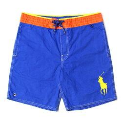 美國百分百【全新真品】Ralph Lauren RL 口袋 男 泳褲 海灘 衝浪褲 雙層 短褲 M 寶藍 橘 E179