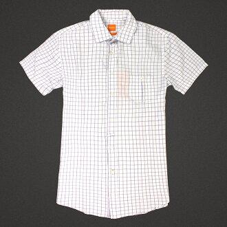 美國百分百【全新真品】Hugo Boss 襯衫 短袖 上衣 上班 休閒 格紋 專櫃 名牌 白 紫 男 S L號 E184