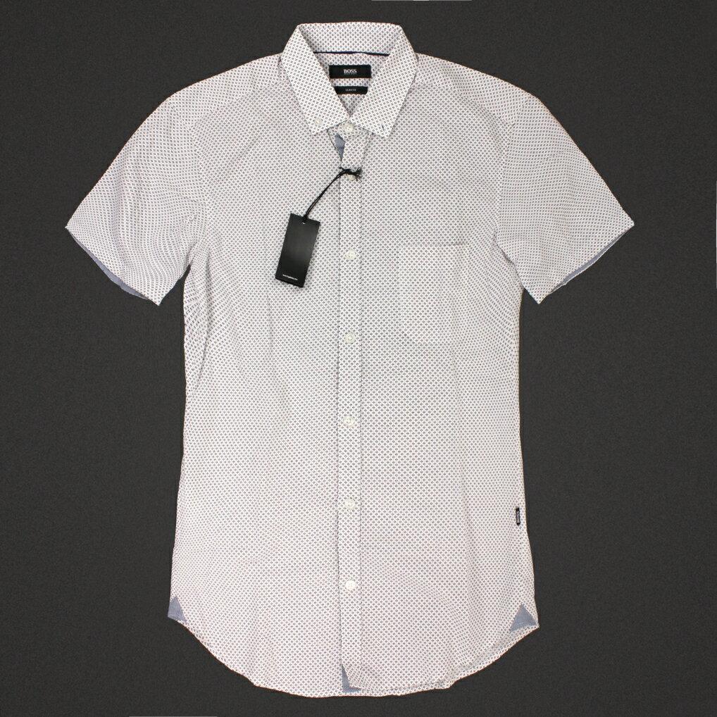 美國百分百【全新真品】Hugo Boss 襯衫 短袖 上衣 上班 休閒 點點 彩點 普普 專櫃 名牌 男 XS號 E185